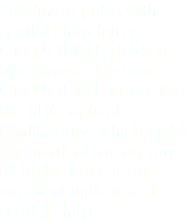 Sending a pulse with spatial chirp into a GRENOUILLE yields a tilted trace. Because GRENOUILLE traces use the SHG optical nonlinearity, which yields symmetrical traces, any tilt in the trace is an excellent indicator of spatial chirp.