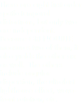There are eight first-order spatio-temporal distortions, but only two are independent. Because GRENOUILLE measures two of them, it also yields the other six as well. The others include angular dispersion, the ultrafast lighthouse effect, wave-front rotation, etc.